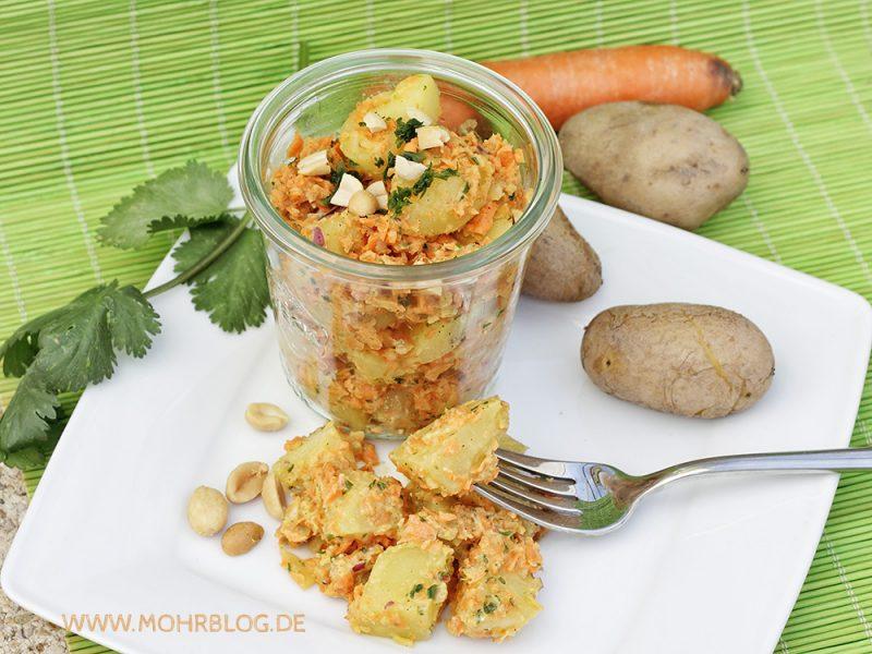 Blitzkartoffelsalat mit Erdnüssen, Möhren und Koriander